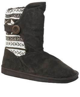 Truffle (Brown) Suede Fairisle Boot  200338924  New Look