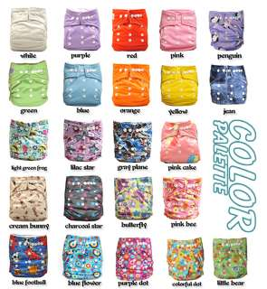 10 Snap Pocket Baby Cloth Diapers+10 Inserts girl color
