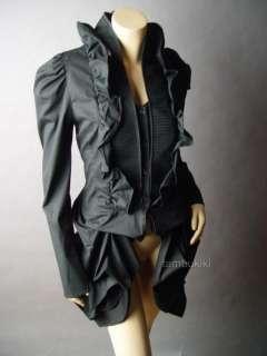 BLK Victorian Goth Steampunk Aristocrat Bustle Tailcoat Ruffle Top fp