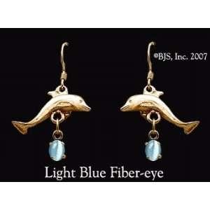 Dolphin Gemstone Earrings, 14k Yellow Gold, Light Blue set