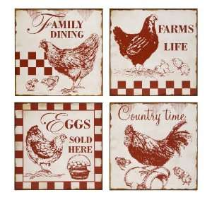 Vintage Cafe Chicken Signs Wall Decor  Set of 4 Home