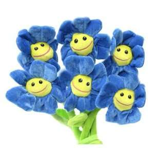 Plush Blue Happy Face Asst Flowers 18 by Fiesta Toys