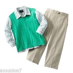 3pc Boys Suit Pants Green Vest Plaid Shirt sz 2T 3T 4T