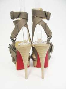 Auth Christian Louboutin Toutenkaboucle Strappy Canvas Sandals 34.5/4