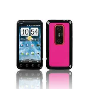 HTC EVO 3D Hybird Flexible TPU Skin Case   Black/Hot Pink (Free