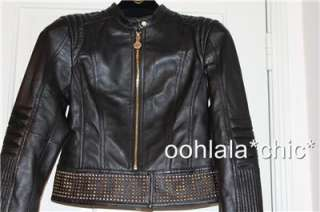 VERSACE FOR H&M Black Leather Studded Biker Jacket Coat NWT Size 4 34