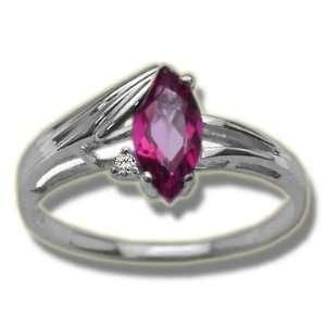 .015 ct 8X4 Mq Mystic Pink Topaz White Gold Bold Edge Ring