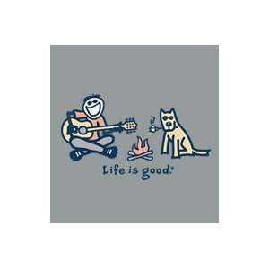 Life Is Good Camp Fire Guitar on Moss Mens Tee Sports