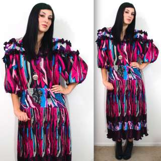 DIANE FRES Freis Georgette BOHO GYPSY Draped HIPPIE Geo Maxi Dress M L