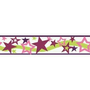: Star Dark Pink Wallpaper Border in Girl Power II: Home Improvement