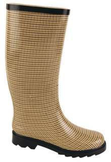 NB Houndstooth Winter Rubber Wellies Flat Womens Rain Snow Boot