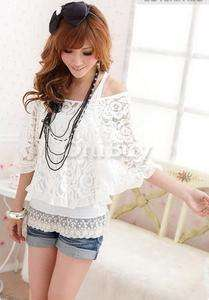 FreeShip Fashion Women Top Shirt Lace Cover Up Blouse Vest 2in1