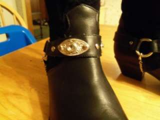 BLING Cowboy Cowgirl Boots, Black Suede Leather, Oak Tree Farms, 7 B M