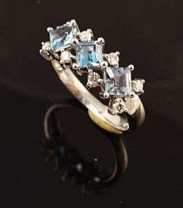 14K WHITE GOLD BLUE TOPAZ & DIAMOND LADIES RING BEAUTY