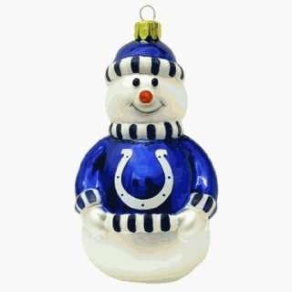 Indianapolis Colts NFL Blown Glass Snowman Ornament