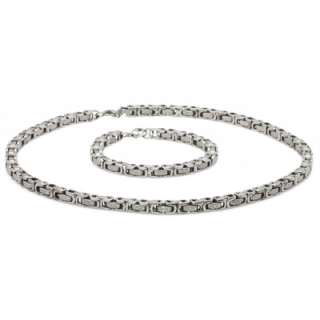 Mens Stainless Steel Link Chain Necklace & Bracelet Set w/Engraved