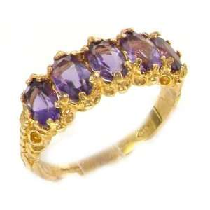 Victorian Design Solid English Yellow Gold Amethyst Ring