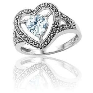 Genuine 14k White Gold Heart Shaped Aquamarine and Diamond Ring(Size5