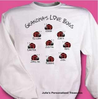 Grandmas Love Bugs Personalized Sweatshirt Sm 4X