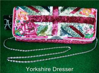 New Accessorize Pink UNION JACK FLAG Sequin Clutch BAG