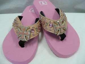 Crystal Rhinestone Pink Cowhide Cross Western Flip Flop