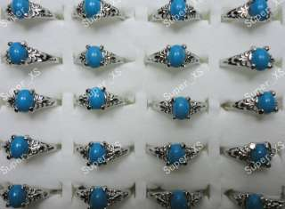 wholesale jewelry lots 30pcs blue Malay Jade silver plated rings free