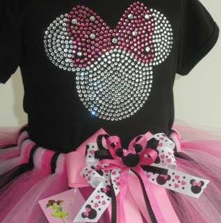 2T Pink Clear Minnie Mouse tutu rhinestone black t shirt Disney