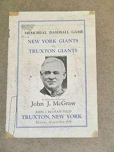 NEW YORK GIANTS   JOHN McGRAW Program   1938   SIGNED