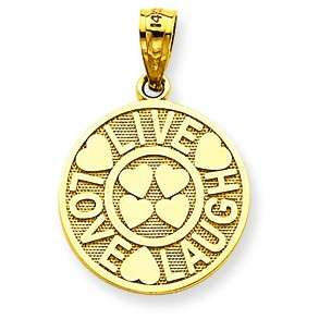 14K YELLOW GOLD LIVE LOVE LAUGH HEARTS CIRCLE PENDANT