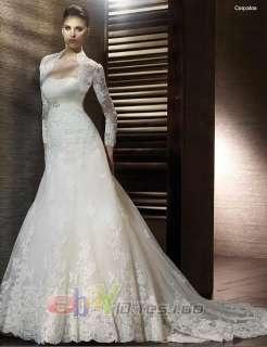 ivory white lace wedding bridal Dress gown zipper/lace up back Size