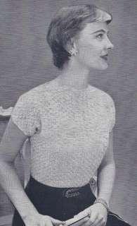 Vintage Crochet PATTERN Lace Summer Evening Blouse Short Sleeve