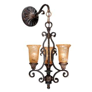 NEW 3 Light Wall Sconce Lighting Fixture, Bronze, Orange Speckled