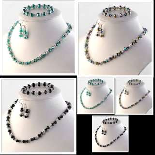 Fashion *3 Color Glass Clear Crystal Cap Necklace Bracelet Earring