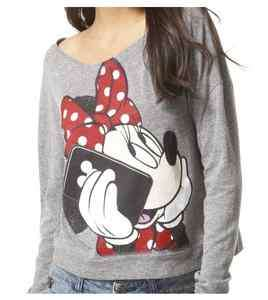 DISNEY MINNIE MOUSE LONG SLEEVE TEE SHIRT TOP WOMENS NWT sz XS, S, M