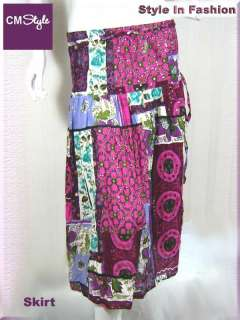 Halter Batik Print Bohemian Dress / Skirt Purple S