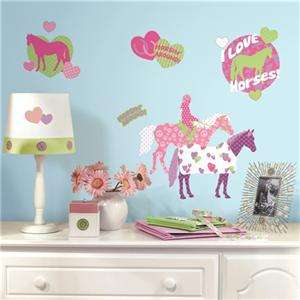 New HORSE CRAZY WALL DECALS Girls Decor Stickers 034878078472