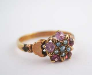 Antique Victorian Gold Amethyst Seed Pearl Star Ladies Ring Sz 8 19c