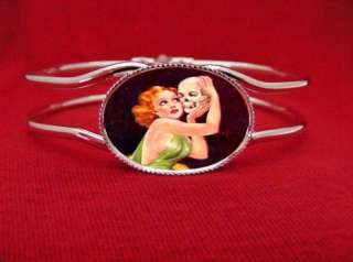 SKULL PIN UP GIRL KISS PULP BRACELET ROCKABILLY GOTH