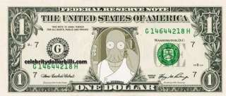 Zoidberg CELEBRITY DOLLAR BILL UNCIRCULATED MINT US CURRENCY