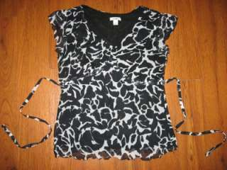 CATO Womens Size M Medium Dress Shirt Black Cap Sleeve Black White
