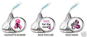 BREAST CANCER PINK RIBBON kiss labels RACE FOR THE CURE