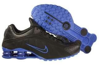 New Men Nike Shox R4 Black/Varsity Royal Blue Running Tennis Shoe All