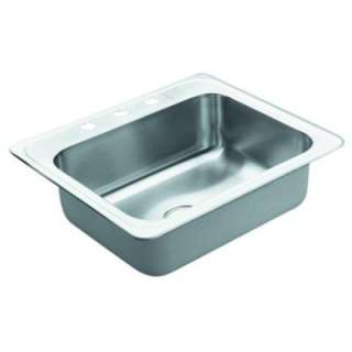 Drop in Stainless Steel 25x22x6.5 3 Hole Single Bowl Kitchen Sink