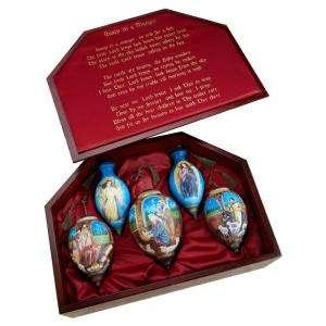 NeQwa Art Nativity Inside Hand Painted Glass Christmas Ornaments (5