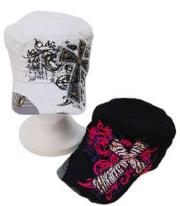 ADJUSTABLE BLACK RHINESTONE CROSS BASEBALL HAT CAP