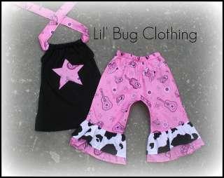 Western Wear Cowgirl Star Pink Capri & Halter Top
