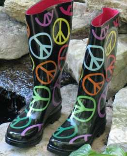 Womens 1,4,3.Girl Brand LARGE COLORFUL PEACE SIGN Rain Boots Size 9