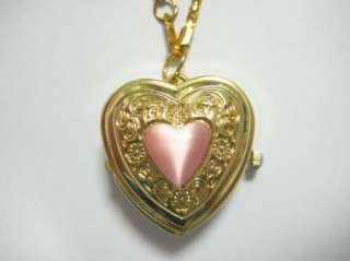 Wholesale lots 10pcs gold heart pocket watch necklace