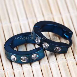 1Pair BLUE Steel Crystal Hoop Huggie Studs Earrings Men
