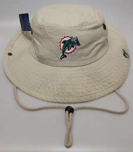 New NFL Miami Dolphins Beige Fishing Bucket Hat w/ Embroidered Logo